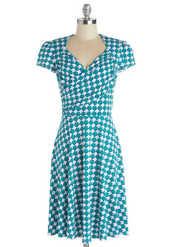 Kelly's Vivid in the Moment Dress in Squares - Knit, Mid-length, Green, White, Print, Work, Casual, A-line, Short Sleeves, Better, Variation, V Neck, Blue
