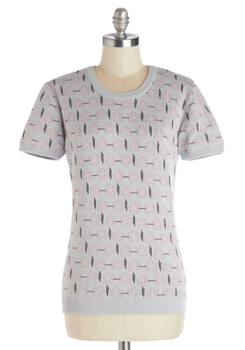 Breadth of Fresh Air Top by Tulle Clothing - Pink, Grey, Floral, Short Sleeves, Better, Knit, Mid-length, Crew, Grey, Short Sleeve