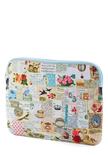Passing Notes Laptop Sleeve - 13in by Disaster Designs - Cream, Multi, Floral, Travel, Darling, Novelty Print