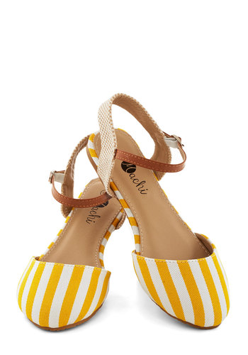 Cape Hatteras Flat in Sun - Flat, Woven, Yellow, White, Tan / Cream, Stripes, Daytime Party, Beach/Resort, Spring, Good, Variation, Nautical