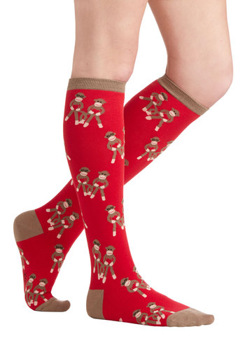 Show Me the Monkey Socks - Red, Brown, Print with Animals, Casual, Kawaii, Under $20, Quirky