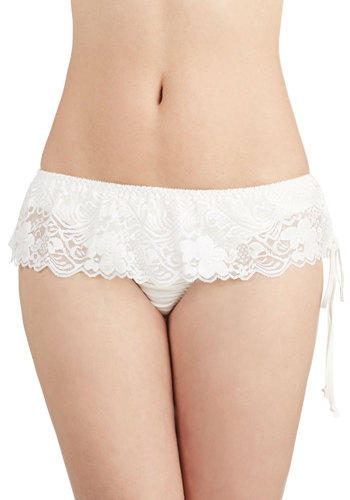 Feeling Foxy Thong in Ivory - Sheer, Knit, White, Solid, Lace, Bride, Boudoir, Variation, Lace