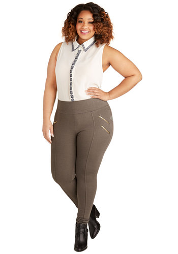 Dressage to Impress Pants in Charcoal Brown - Plus Size - Knit, Brown, Solid, Exposed zipper, Skinny