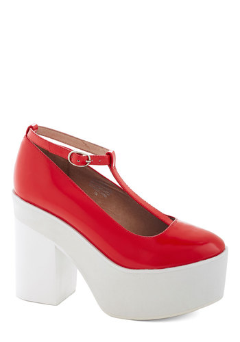 Fun For Days Heel by Jeffrey Campbell - High, Leather, Red, Solid, Party, Statement, Best, Platform, Chunky heel, T-Strap, 90s, White, Vintage Inspired