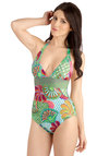 Heavenly Anemone One Piece - Knit, Multi, Floral, Beach/Resort, Vintage Inspired, Summer