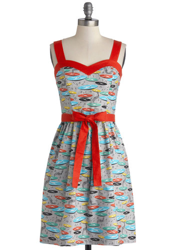 For the Record Books Dress by Bea & Dot - Private Label, Red, Novelty Print, Casual, A-line, Sleeveless, Better, Sweetheart, Cotton, Woven, Mid-length, Vintage Inspired, Quirky, Multi, Grey, Pockets, Belted, 50s, Music, Exclusives, Sundress, Top Rated