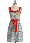 For the Record Books Dress by Bea & Dot - Private Label, Red, Novelty Print, Casual, A-line, Sleeveless, Better, Sweetheart, Cotton, Woven, Mid-length, Vintage Inspired, Quirky, Multi, Grey, Pockets, Belted, 50s, Music, Exclusives, Sundress