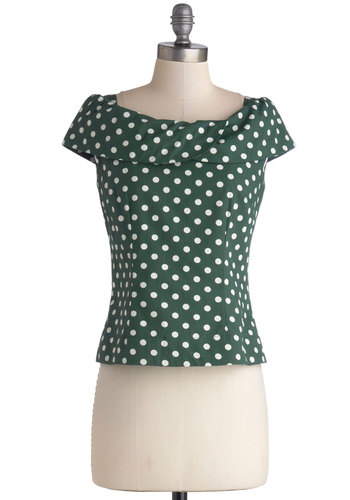 Vogue Vocab Top by Emily and Fin - Cotton, Woven, Short, Green, White, Polka Dots, Daytime Party, Vintage Inspired, 60s, Cap Sleeves, Green, Short Sleeve, Party
