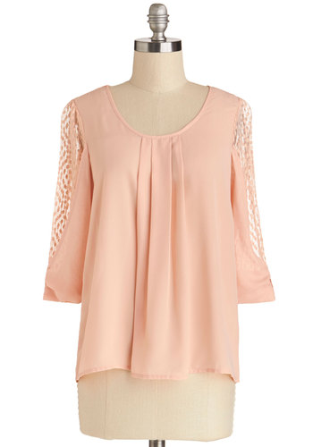 Sweet Shopkeeper Top - Chiffon, Sheer, Woven, Mid-length, Pink, Solid, Pastel, 3/4 Sleeve, Scoop, Valentine's, Spring, Pink, 3/4 Sleeve