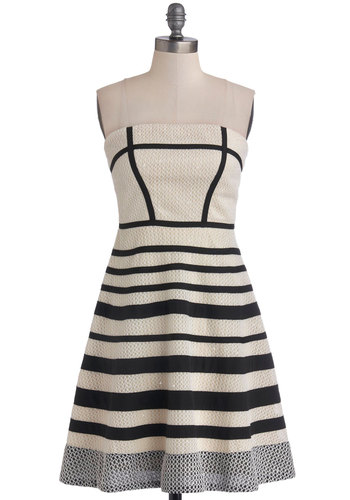 All the Twinkle Ladies Dress - Woven, Short, Tan / Cream, Black, Stripes, Party, A-line, Strapless