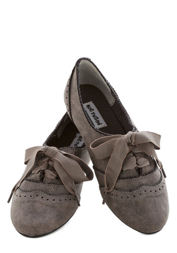 The Act of the Matter Flat in Grey - Flat, Grey, Solid, Vintage Inspired, 20s, 30s, Good, Lace Up, Faux Leather, Casual, Menswear Inspired, Variation