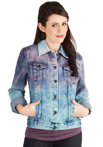Color Up Jacket - Good, Blue, Long Sleeve, Cotton, Denim, Woven, Short, 1, Blue, Tie Dye, Buttons, Pockets, Casual, 80s, 90s, Long Sleeve, Collared, Ombre, Vintage Inspired, Spring, Festival