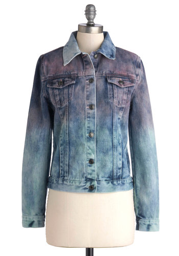 Color Up Jacket - Good, Blue, Long Sleeve, Cotton, Denim, Woven, Blue, Tie Dye, Buttons, Pockets, Casual, 80s, 90s, Long Sleeve, Collared, Ombre, Vintage Inspired, Spring, Festival, Press Placement, 1, Top Rated, Boho, Short