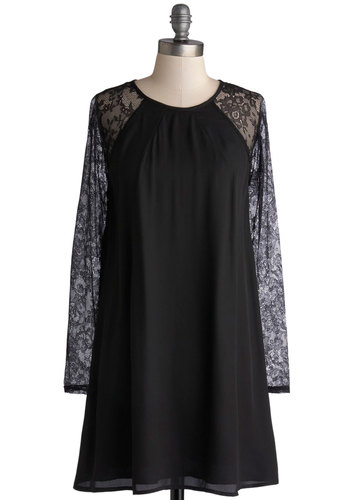 Noir Little Secret Dress - Sheer, Woven, Short, Black, Solid, Lace, Party, Tent / Trapeze, Long Sleeve