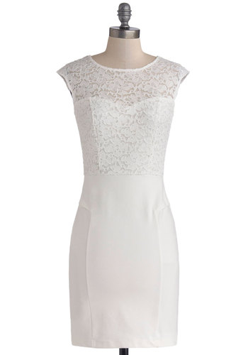 Clear as Crystalline Dress - Mid-length, White, Solid, Lace, Glitter, Party, Shift, Cap Sleeves, Sheer, Knit, Lace