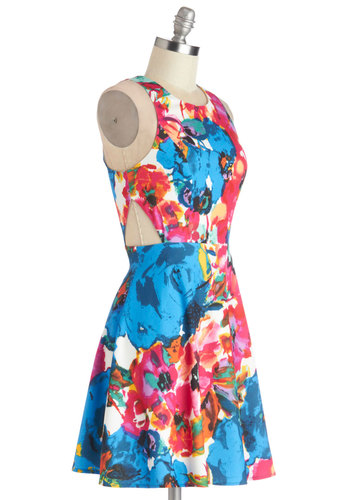 Mural Muse Dress - Woven, Short, Spring, Multi, Blue, Pink, Floral, Cutout, Casual, A-line, Sleeveless