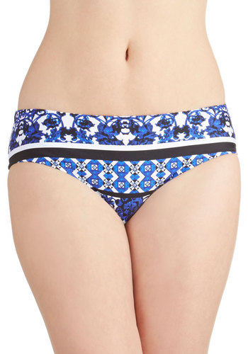 Mallorca Meet-Up Swimsuit Bottom - Knit, Blue, White, Print, Beach/Resort, Summer