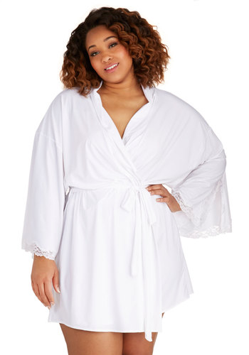Late Night Lace Robe in Plus Size - Sheer, Knit, White, Lace, Belted, Boudoir, Long Sleeve, Lace