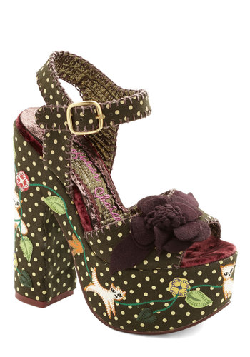 Meow and Then Heel by Irregular Choice - Green, Multi, Polka Dots, Print with Animals, Embroidery, Flower, Statement, High, Platform, International Designer, Woven, Party, Cats