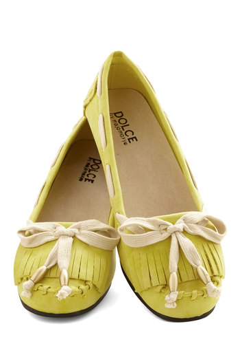 Shoe Are My Sunshine Flat - Flat, Faux Leather, Yellow, Tan / Cream, Solid, Fringed, Casual, Vintage Inspired, 70s