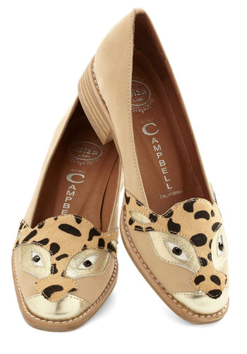 You Weren't Kitten Flat by Jeffrey Campbell - Low, Leather, Suede, Tan, Print with Animals, Quirky, Cats