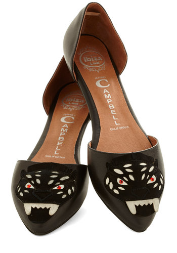 Face Forward Flat by Jeffrey Campbell - Flat, Leather, Black, Print with Animals, Quirky, Cats