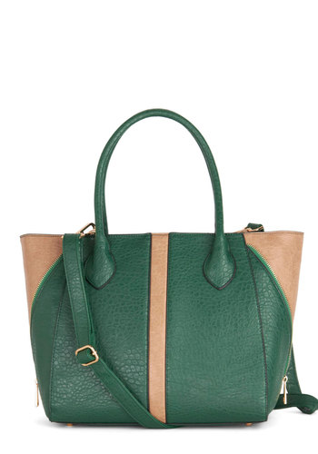 Evergreen is the New Black Bag - Green, Tan / Cream, Solid, Work, Colorblocking, Better, Faux Leather