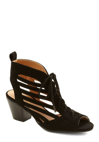 Hello Louver Heel - Mid, Black, Solid, Cutout, Party, Good, Lace Up, Peep Toe, Chunky heel
