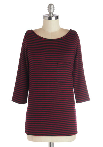 Trusted and True Top - Good, Red, 3/4 Sleeve, Mid-length, Knit, Red, Black, Stripes, Pockets, Casual, 3/4 Sleeve, Basic, Valentine's