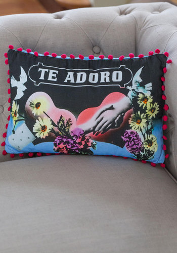 Adore Your Decor Pillow - Cotton, Woven, Multi, Better, Novelty Print, Poms, Valentine's
