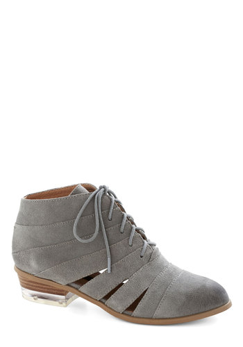 Outdoor Architect Bootie by Kensie - Grey, Solid, Cutout, Better, Lace Up, Low, Leather, Suede