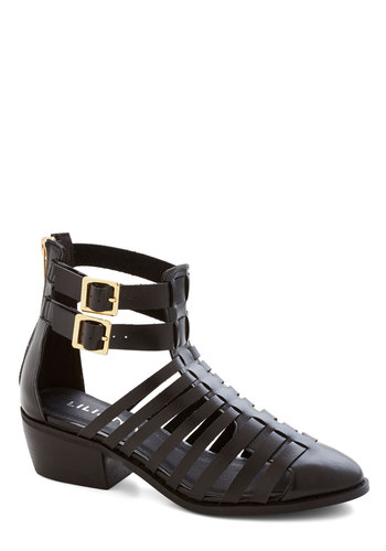 Slats My Prerogative Bootie - Low, Mid, Black, Solid, Buckles, Cutout, Good, Chunky heel, Festival, Boho