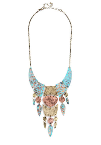 Flair for the Enigmatic Necklace - Blue, Multi, Solid, Tiered, Statement, Festival, Gold, Better, Mixed Media, Top Rated, Boho, Fall