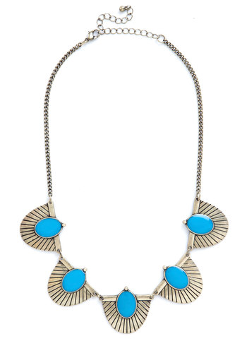 Art Echo Necklace - Blue, Solid, Festival, Good, Vintage Inspired, 20s, Gold