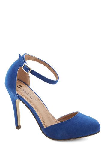 Dinner and Dancing Heel in Blue - High, Suede, Faux Leather, Blue, Solid, Prom, Wedding, Party, Girls Night Out, Holiday Party, Good, Variation