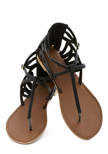 Rock 'n' Stroll Sandal in Black - Flat, Faux Leather, Black, Solid, Cutout, Beach/Resort, Good, Casual, Summer, Variation