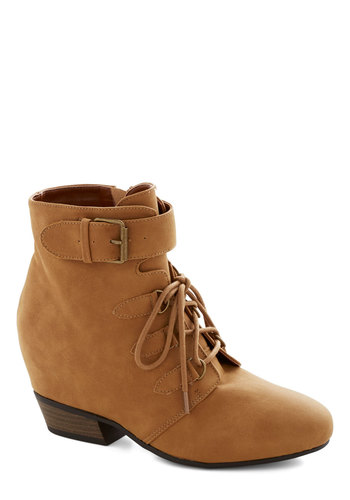 More Ways Than One Bootie - Low, Faux Leather, Tan, Solid, Buckles, Good, Lace Up