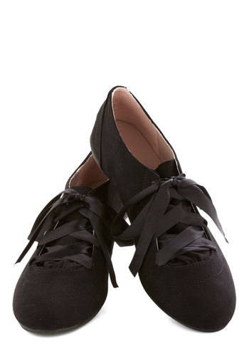 Dancer's Day Off Flat - Flat, Faux Leather, Black, Solid, Fairytale, Good, Lace Up, Casual