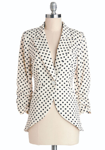 Fine and Sandy Blazer in Dots - White, Black, Polka Dots, Work, 3/4 Sleeve, Spring, Knit, Mid-length, Best Seller, 1