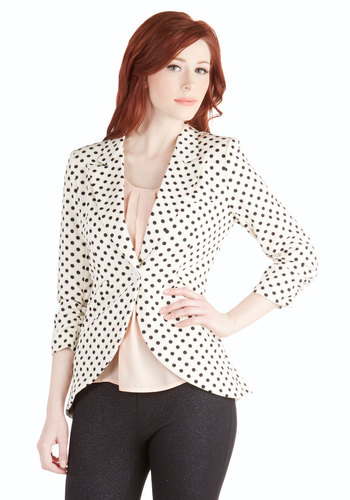 Fine and Sandy Blazer in Dots - 1, White, Black, Polka Dots, Work, 3/4 Sleeve, Spring, Knit, Mid-length
