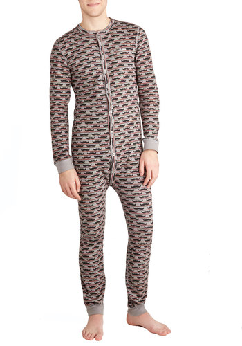 Mustache Off to Dreamland Men's Pajamas - Knit, Long, Grey, Buttons, Quirky, Bodysuit, Long Sleeve, Grey, Novelty Print, Guys