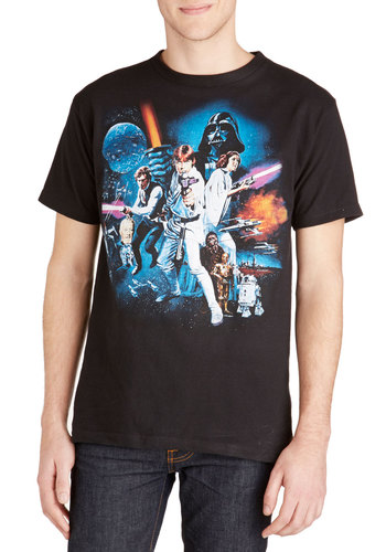 May the Fierce Be with You Tee - Cotton, Knit, Mid-length, Black, Casual, Vintage Inspired, Sci-fi, Short Sleeves, Good, Crew, Black, Short Sleeve, Novelty Print, Guys