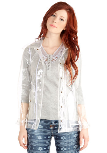 My Fair Festival Raincoat by Motel - Good, Clear, Long Sleeve, 1, Hoodie, Spring, Sheer, Festival