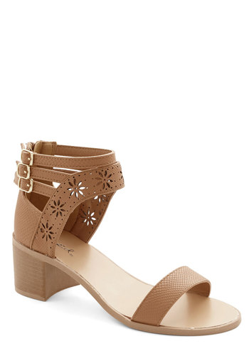 Georgia Getaway Heels - Mid, Tan, Solid, Cutout, Daytime Party, Beach/Resort, Spring, Good, Chunky heel, Strappy, Variation