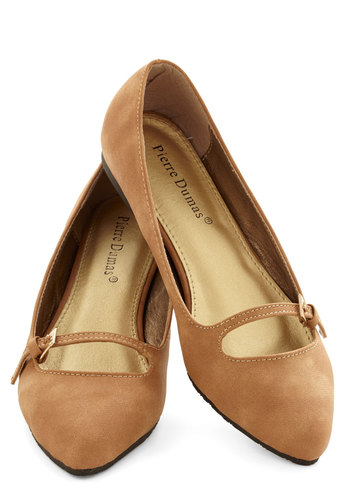 Meeting of the Mod Flat in Fawn - Flat, Faux Leather, Tan, Solid, Buckles, Work, Casual, Good