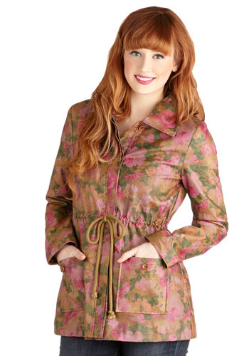 Halcyon Your Way Jacket by Tulle Clothing - Tan, Green, Pink, Floral, Pockets, Good, Long Sleeve, Woven, Mid-length, 1, Belted, Spring