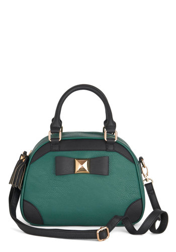 Verbs and Nouns Bag - Black, Solid, Work, Colorblocking, Good, Mixed Media, Faux Leather, Green, Bows
