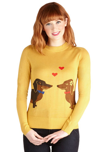 Wiener Takes It All Sweater by Bea & Dot - Yellow, Red, Brown, Print with Animals, Long Sleeve, Better, Exclusives, Knit, Private Label, Quirky, Crew, Novelty Print, Yellow, Long Sleeve, Mid-length