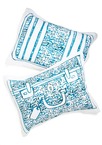 Carry Me Away Pillow Sham Set - Blue, Travel, Good, Cotton, Woven, White, Novelty Print, Exclusives