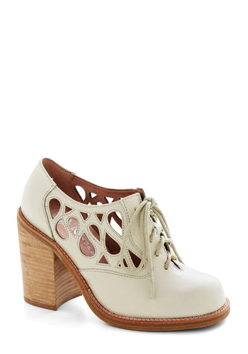 Squiggle Room Heel by Jeffrey Campbell - White, Solid, Cutout, Lace Up, Chunky heel, Mid, Leather